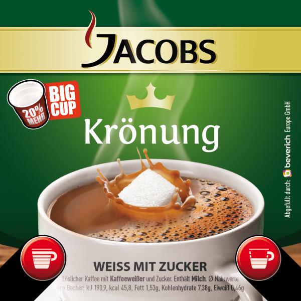 BigCup mit: JACOBS KRÖNUNG - Kaffeeweißer & Zucker